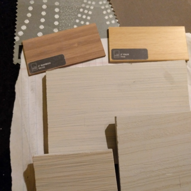 off cuts of tile, and samples for the blinds