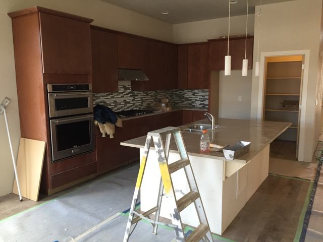 The kitchen almost complete.